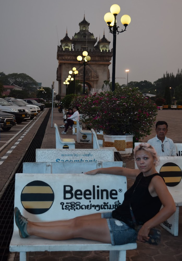 Beeline (Russian mobile service company) has taken over Laos, the yellow and black is on all the benches around!