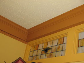Photo: Day 6: Stained glass windows (enclosed inside) and original wallpaper (?) at the Kangaroo House B&B.