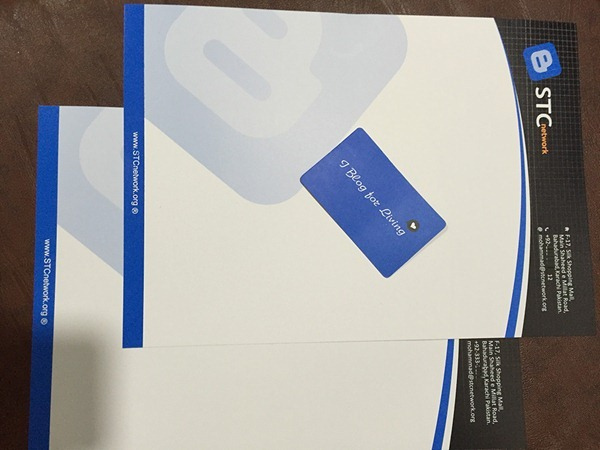 STCnetwork letterhead and VC