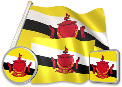 Bruneian flag animated gif collection