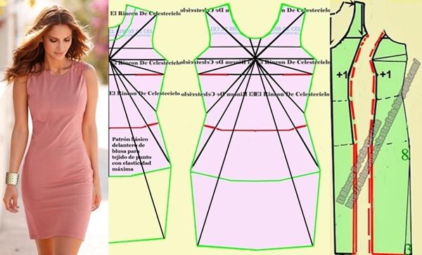 Transformando patrón de vestido ajustado en tejido de punto corte princesa