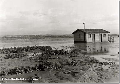 Jordan River, Allenby Bridge guard house in flood, mat04344