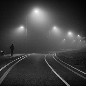 Through the fog by Goran Kojadinovic - City,  Street & Park  Night ( winter, cold, park, fog, walker, night, kragujevac, city,  )