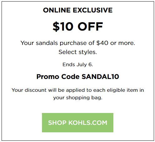 Kohls coupon $10 off Women's Sandals