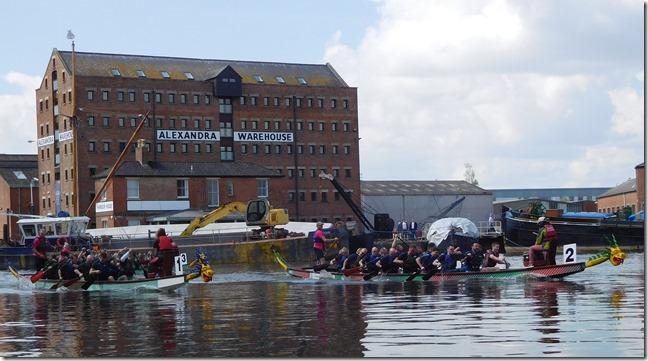 3 dragon boats and warehouse