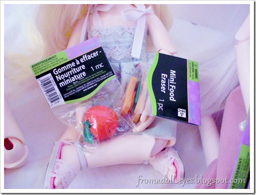 Finding Doll Props: At The Party Store? Food erasers for dolls