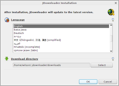 Choose language and download directory in JDownloader installation