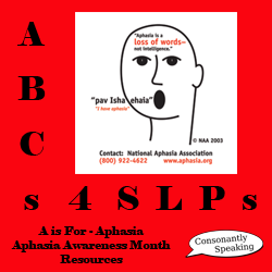 ABCs 4 SLPs: A is for Aphasia - Resources for Aphasia Awareness Month image