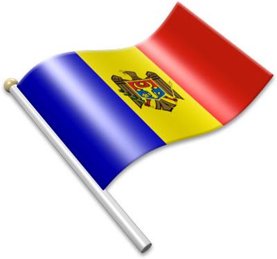 The Moldovan flag on a flagpole clipart image