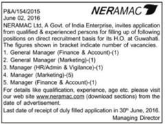 NERAMAC Vacancy 2016