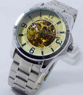 Jam Tangan OMEGA otomatis silver chain white