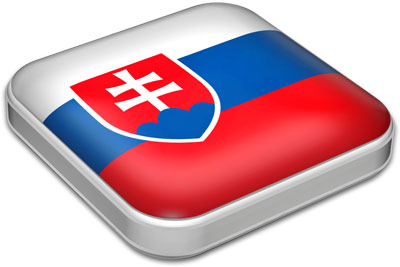 Flag of Slovakia with metallic square frame