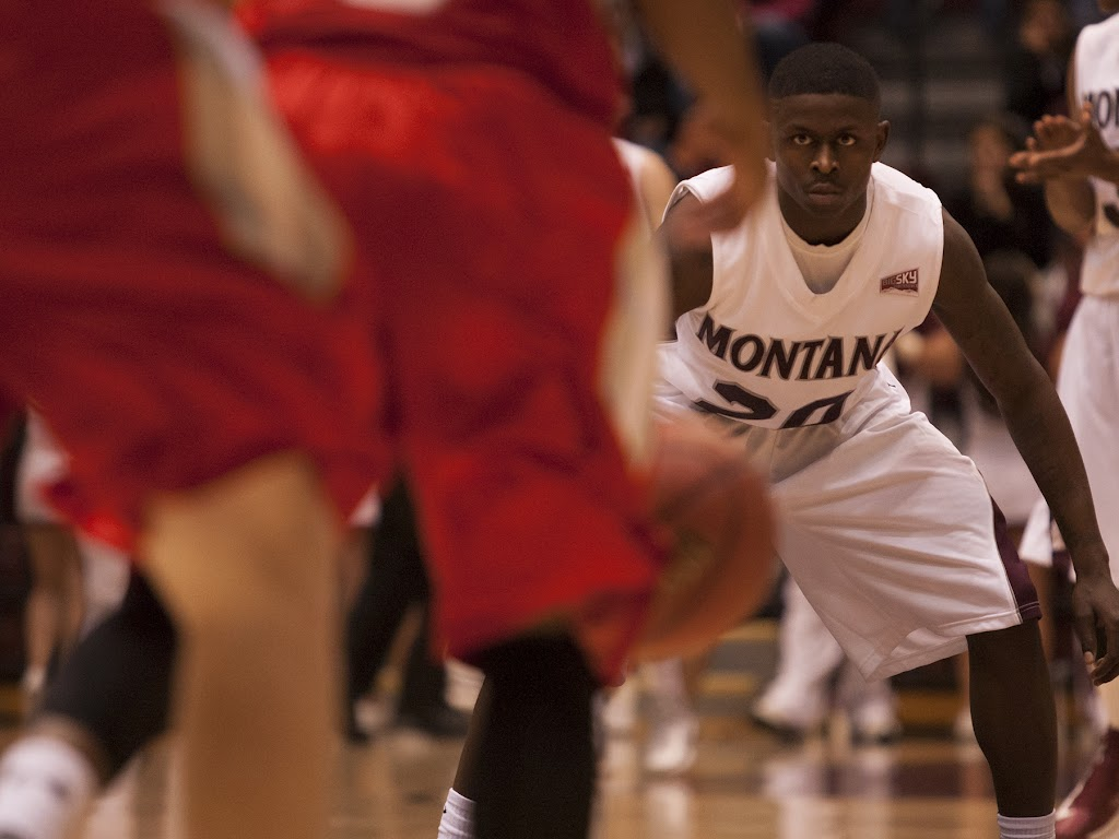Keron DeShields was a defensive powerhouse Wednesday evening, leading a full-court press that swayed momentum in Montana's favor and resulted in an 82-53 victory over Minot State.  Dahlberg Arena in Missoula, Mont., November 14th, 2012.