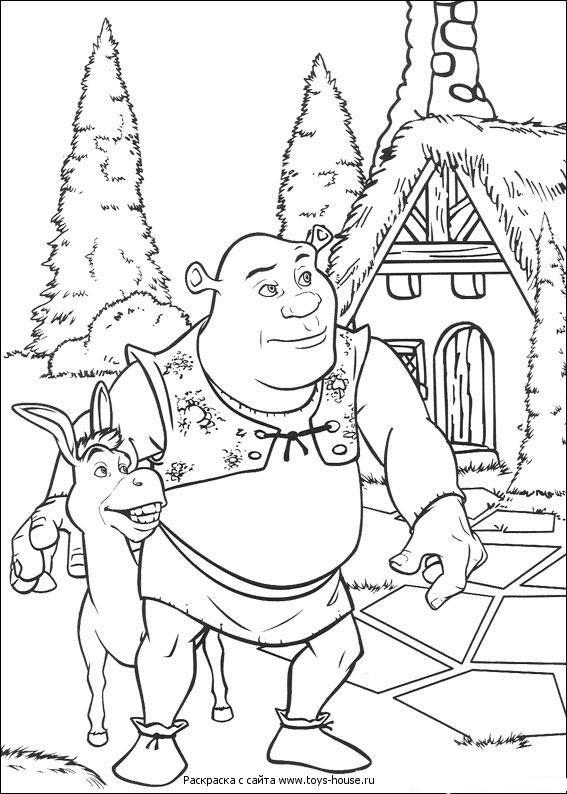 Shrek y Burro para colorear