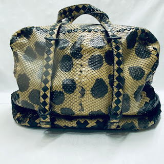 Bottega Veneta Python and Woven Leather Shoulder Bag