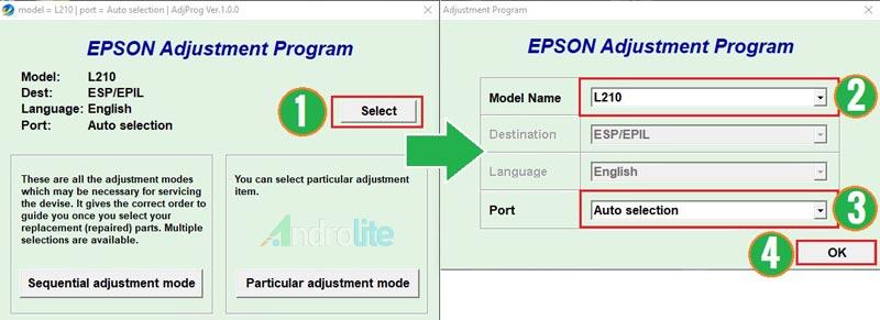 Reset Epson L110 L210 L300 L350 L355