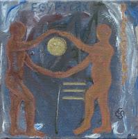 'Egyptian discovery'- Winter, Acryl und Ölpastell, 20x20