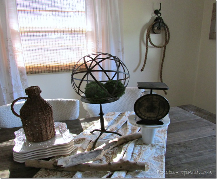 Using unusual items for a rustic centerpiece @Rustic-refined.com