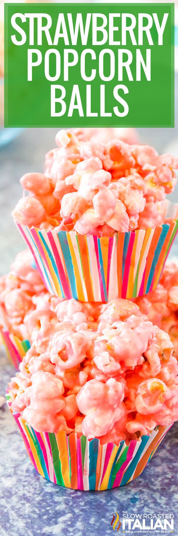 Strawberry Popcorn Ball Recipe closeup