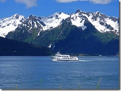 Boat in Resurrection Bay, Kenai Mountains