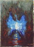 nadzieja, olej, płótno, szpachla, 50/70 cm