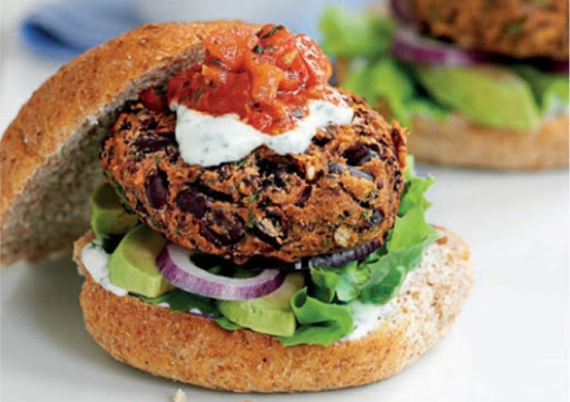 Mexican bean burgers with lime yogurt and salsa