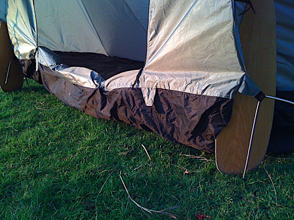 Depending on the lentgh of your paddles or poles, the groundsheet can be pulled up or lowered, and still pegged in OK.