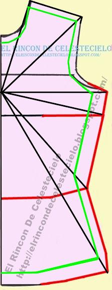 Trazo de patrón para tejido de punto con máxima elasticidad sobre líneas diagonales