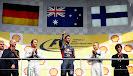 Podium ceremony.Adrian Newey, Nico Rosberg, Daniel Ricciardo & Valtteri Bottas