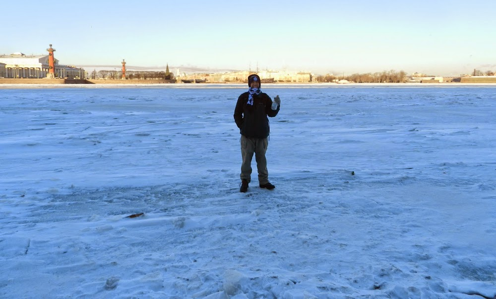 Standing on the completely frozen Neva River... good times!