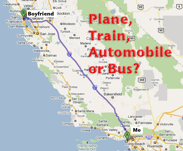 Calculating Long Distance The Green Way To Travel Between Los: Map Los Angeles To San Francisco At Infoasik.co