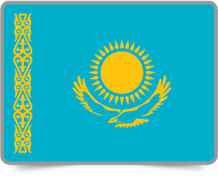 Kazakhstani framed flag icons with box shadow