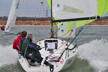 J/70 one-design speedster- sailing fast on Solent, England