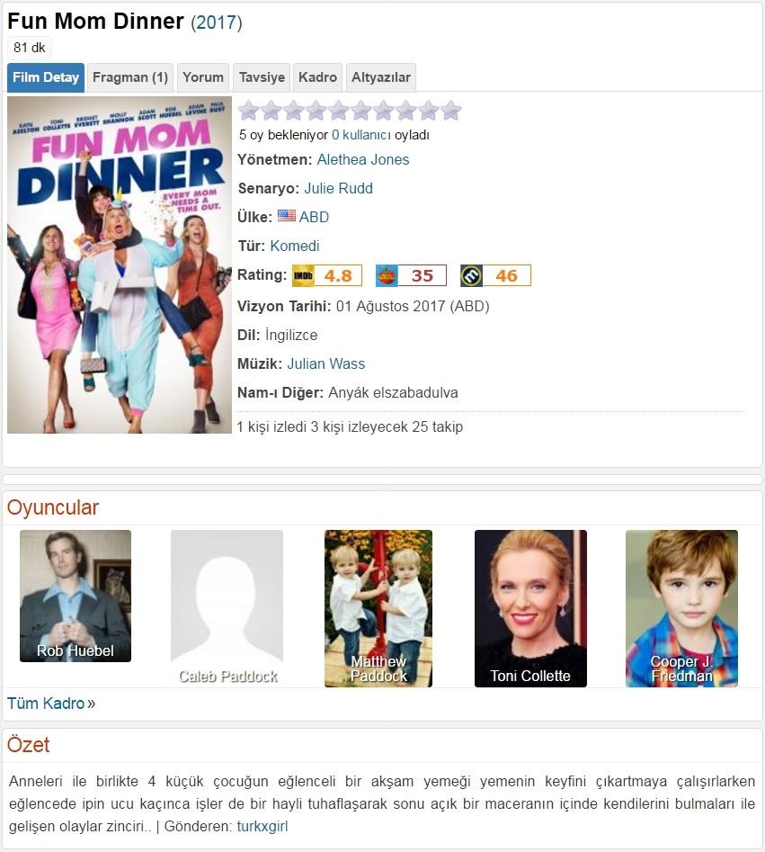 Fun Mom Dinner 2017 - 1080p 720p 480p - Türkçe Dublaj Tek Link indir
