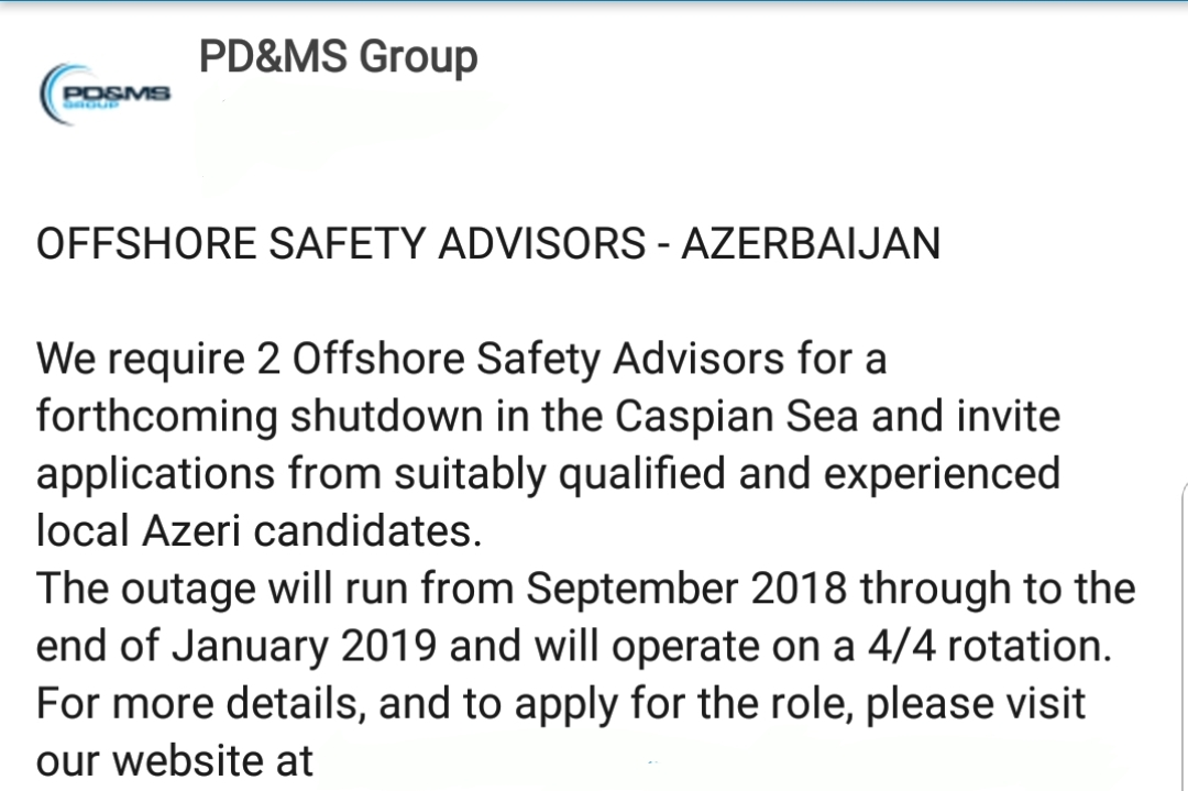 Oil and Gas Jobs: 28/28 Rotational, Offshore Safety Advisors