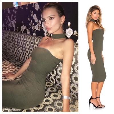 Emily Ratajkowski at Pre Oscar Party on Olive Nookie Cosmopolitan Midi Bodycon Dress