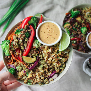 Lentil Bowl with Spicy Cashew Sauce.