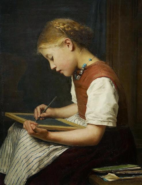 Albert Anker - Schulmädchen bei den Hausaufgaben