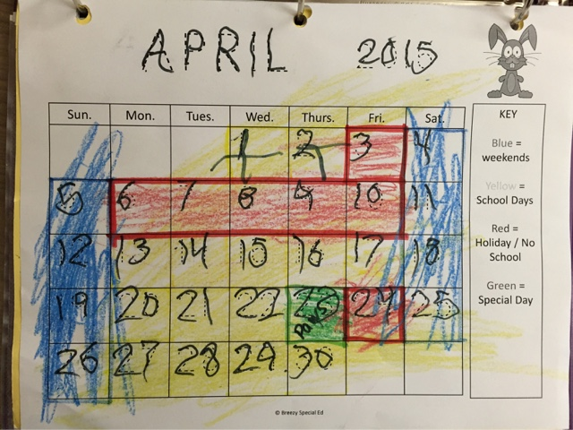 Color Coded Visual Calendars for Special Education - Breezy Special Ed