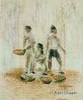 073 - Les Petits Vendeurs - 1996 24 x 30 - Craie sur carton