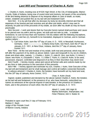 Transcription of Will of Charles A. Kuhn, Indpls, IN, Probated 1916