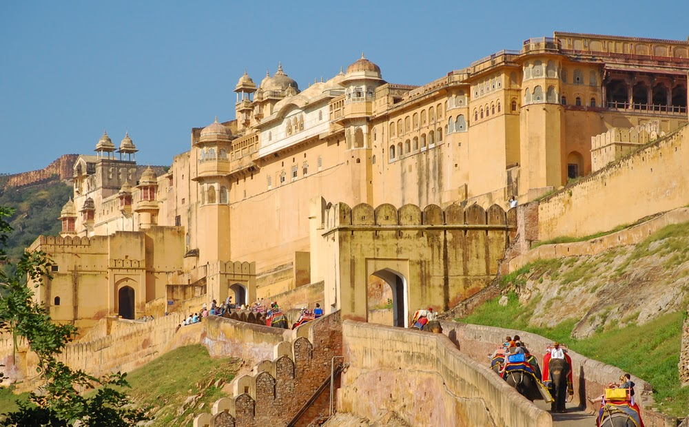 Climbing up to the Amber Fort with an elephant ride.