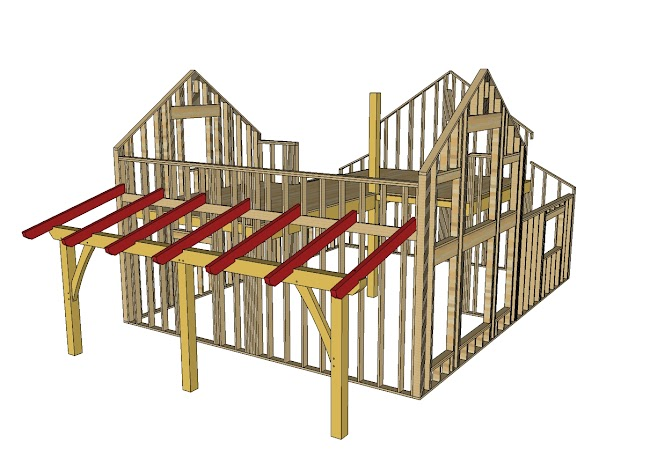Hand building a timberframe shed deck roof ana white for Shed roof porch plans