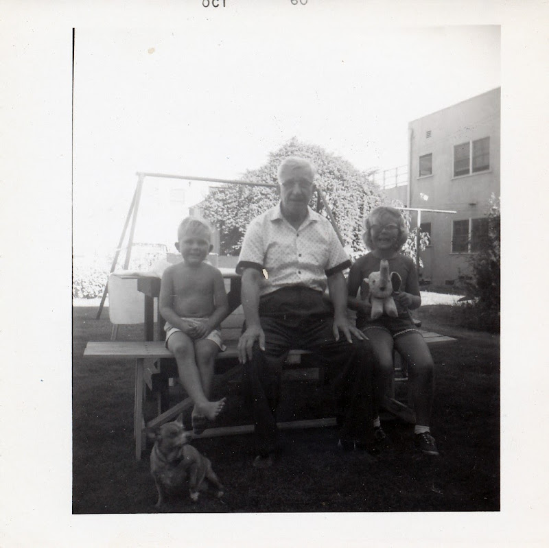 Steve Caldwell, August Boekman, Evelyn Caldwell and Bonnie the Boekman Dog