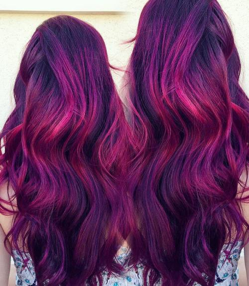 Plum hair color a beautiful contrast for woman 2018 8
