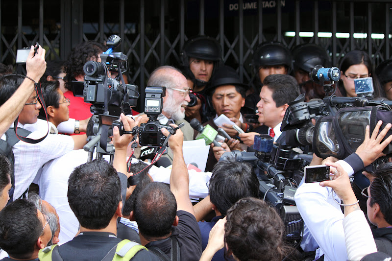 Dr. Julio Trujillo, renowned civil rights lawyer and professor, submits a formal petition for referendum on drilling of the ITT reserves beneath Yasuni National Park