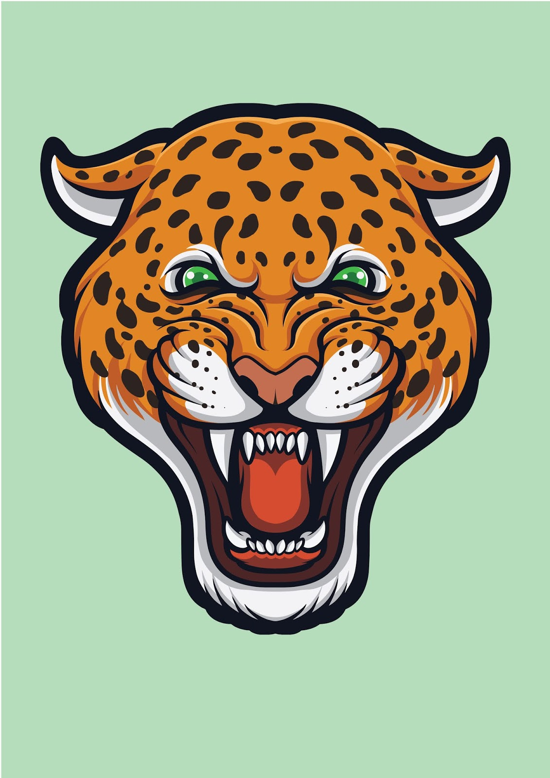 Angry Leopard Face Panthera Pardus Free Download Vector CDR, AI, EPS and PNG Formats