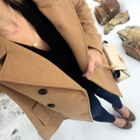 camel pea coat, leopard heels, layered necklaces