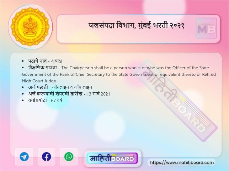 Jalsampada Vibhag Mumbai Bharti 2021