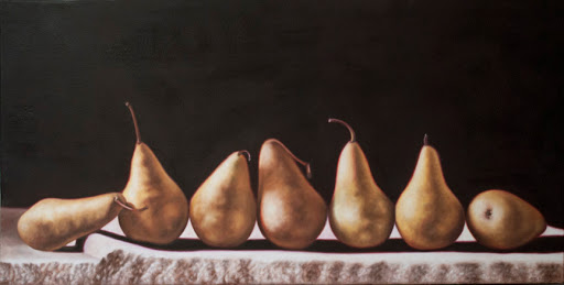 "Seven Pears 18"" by 36"" oil on canvas. Artist Judy Prisoc"